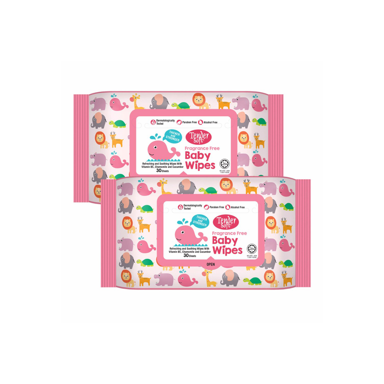 Tender Soft Baby Wipes 2 X 30'S ( Pink )