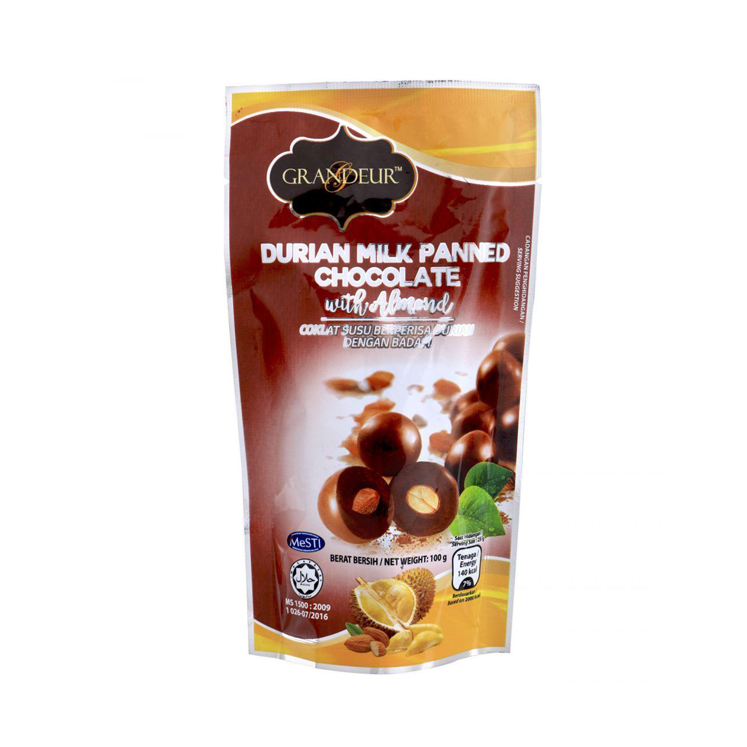 Grandeur Durian Milk Panned Chocolate With Almond 100G