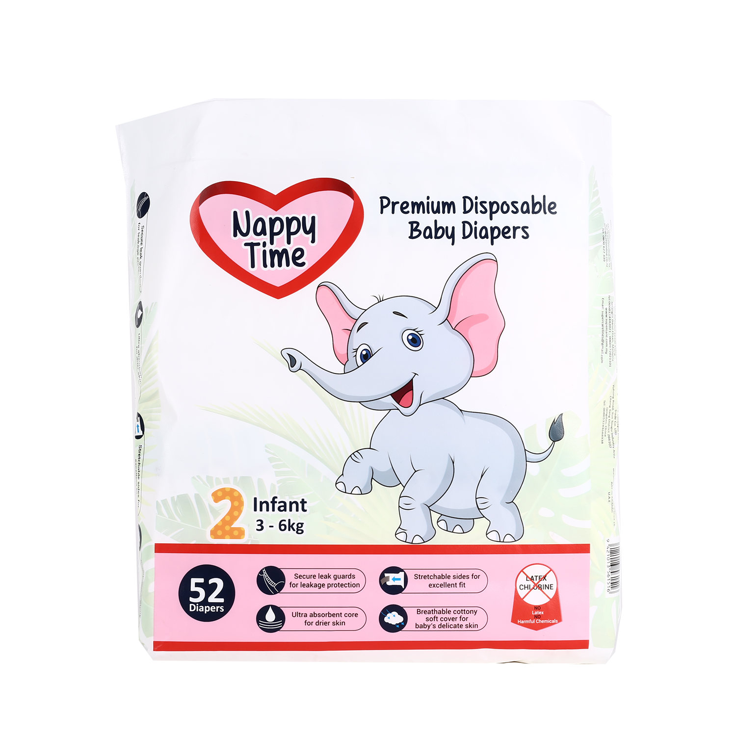 Nappy Time Premium Disposable Baby Diapers 2 - Infant Up to 4.5KG (52PCS)