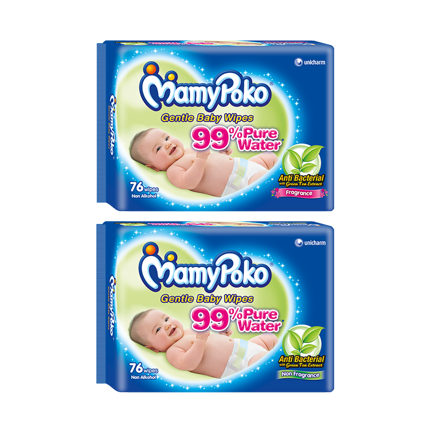 Mamy Poko Baby Wipes Anti Bacterial 20'Sx3 (Blue)