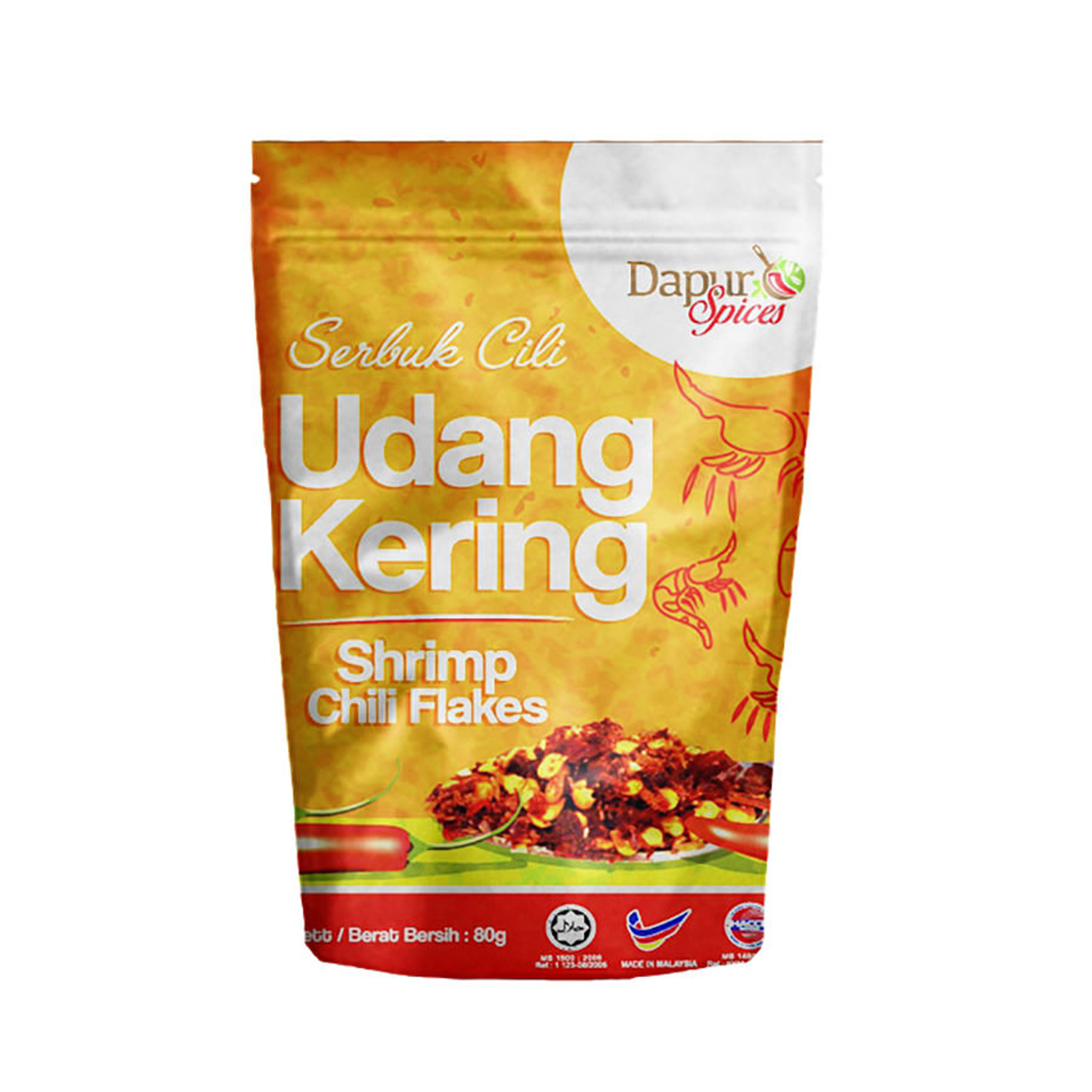 DAPUR SPICES SHRIMP CHILLI FLAKES ( READY TO EAT ) 80GM