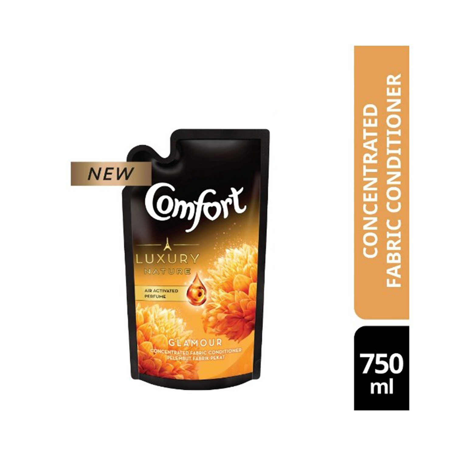 COMFORT FABRIC CONDITIONER GOLD GLAMOUR POUCH REFILL 750ML
